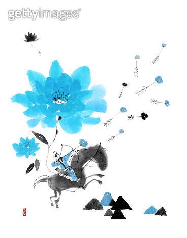 제목 : 피어나다06 (2014년)<br/>소재 : 물감, 먹, 화선지<br/>작품사이즈 : 34cmx43cm(㎝)<br/>작품 설명 : 블루,하늘색,말,사람,사냥,먹그림 - gettyimageskorea