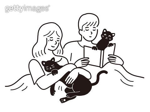 고양이와 책을 보는 커플 - gettyimageskorea