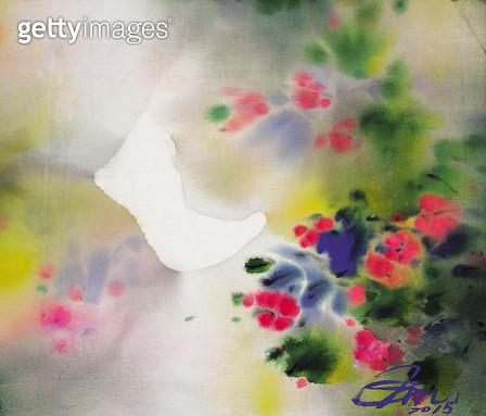 제목 : 꽃 (2015년)<br/>소재 : 혼합재료<br/>작품사이즈 : 53x45(㎝)<br/>작품 설명 : 추천작가 한국화 꽃 꽃이야기 추상화  - gettyimageskorea