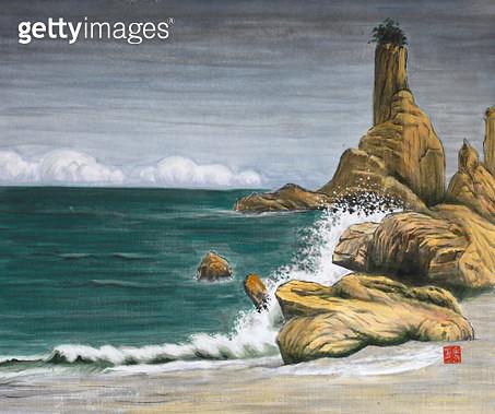 제목 : 사랑이가득한날에 4 (2014년)<br/>소재 : 한지에 채색 수묵<br/>작품사이즈 : 45x37(㎝)<br/>작품 설명 : 초대작가 동양화 한국화 바닷가 구름 바위 파도 해변가 - gettyimageskorea