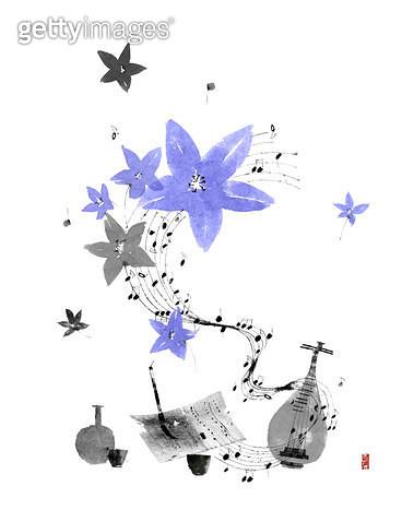 제목 : 피어나다08 (2014년)<br/>소재 : 물감, 먹, 화선지<br/>작품사이즈 : 34cmx43cm(㎝)<br/>작품 설명 : 꽃,악기,음악,먹그림 - gettyimageskorea