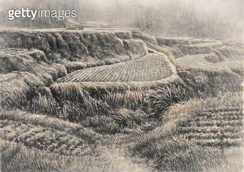 제목 : 가을들녁 (2014년)<br/>소재 : 한지 수묵담채<br/>작품사이즈 : 45x69(㎝)<br/>작품 설명 : 추천작가 한국화 한지 수묵담채화 풍경 산수화 들판 농촌 - gettyimageskorea