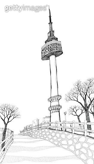 남산타워가 보이는 산책로 펜드로잉 - gettyimageskorea