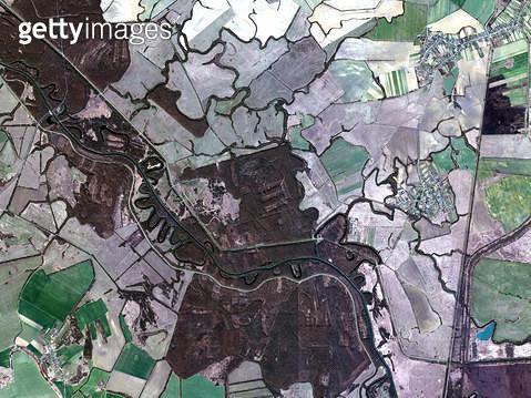 위성사진, 헝가리, 자호니, 농경지 - gettyimageskorea