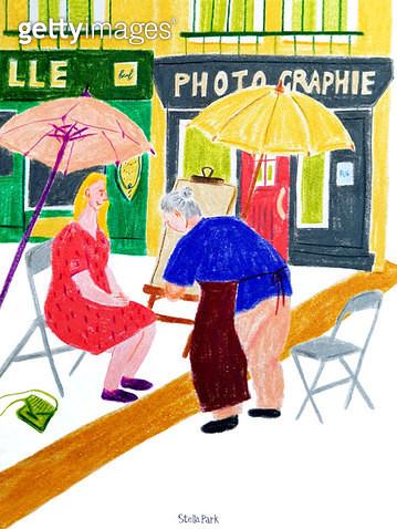 초상화, 길거리의 화가, 파리 - gettyimageskorea