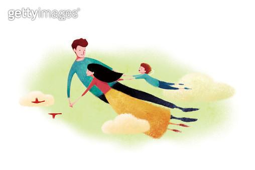 제목 : 가족 (2014년)<br/>소재 : 디지털 일러스트<br/>작품사이즈 : 45x30(㎝)<br/>작품 설명 : 가족,따듯함,사랑,부모,아이,평화,행복,비행,자유 - gettyimageskorea
