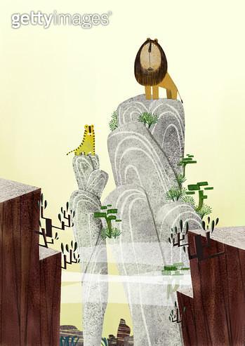 제목 : 왕 (2014년)<br/>소재 : 디지털 일러스트<br/>작품사이즈 : 30cm x 42cm(㎝)<br/>작품 설명 : 동물,왕,사자,호랑이,돌산,나무 - gettyimageskorea