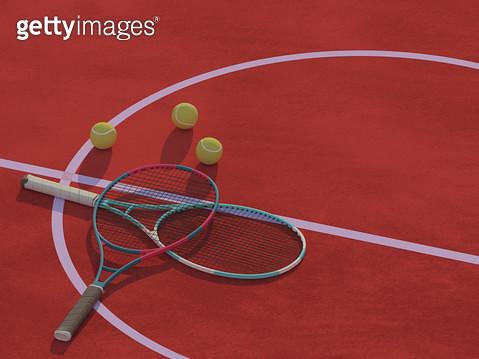 테니스공과 테니스채 - gettyimageskorea