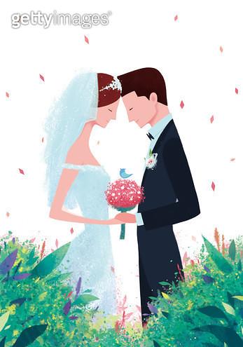 제목 : 결혼 (2014년)<br/>소재 : 디지털 일러스트<br/>작품사이즈 : 35x50(㎝)<br/>작품 설명 : 부부,결혼,연인,약속,축하,사랑 - gettyimageskorea