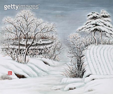 제목 : 사랑이가득한날에 9 (2014년)<br/>소재 : 한지에 채색 수묵<br/>작품사이즈 : 45x37(㎝)<br/>작품 설명 : 초대작가 동양화 한국화  설경 나무 눈 겨울 - gettyimageskorea