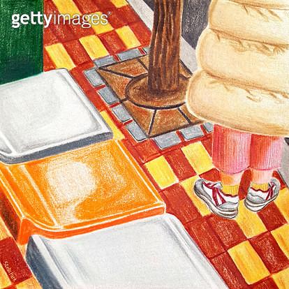 오렌지색 의자, 정류장, 의자 - gettyimageskorea