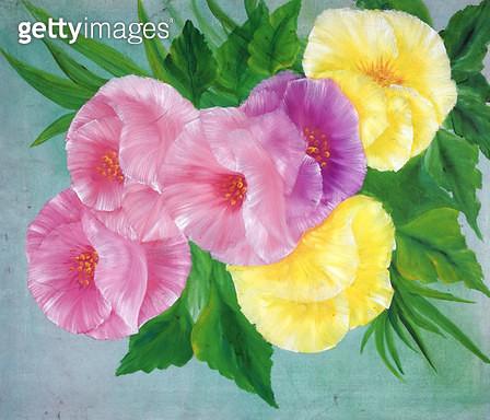 제목 : 꽃 (2003년)<br/>소재 : 캔버스에 유채<br/>작품사이즈 : 52x45(㎝)<br/>작품 설명 : 초대작가 순수미술 그림 미술작품 미술이미지 한국화 수채화 꽃 유화 - gettyimageskorea