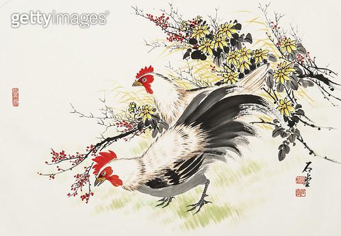 제목 : 국화와 닭 (2005년)<br/>소재 : 한지 수묵담채<br/>작품사이즈 : 70x50(㎝)<br/>작품 설명 : 원로작가 한국화 문인화 닭 국화  - gettyimageskorea