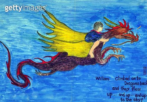 제목 : 용과 소년 (2003년)<br/>소재 : 캔버스에 유채<br/>작품사이즈 : 40x29(㎝)<br/>작품 설명 : 초대작가 순수미술 그림 미술작품 미술이미지 한국화 수채화 용 소년 상상화 - gettyimageskorea