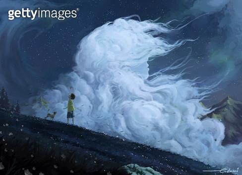 바람,소년,구름 - gettyimageskorea