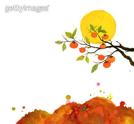 제목 : 가을산,감나무,달 (2015년)<br/>소재 : 먹,물감,순지<br/>작품사이즈 :  40X37㎝(㎝)<br/>작품 설명 : 가을,단풍,산,감나무,달 - gettyimageskorea