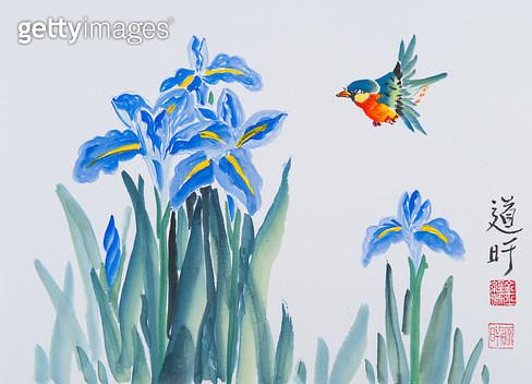 제목 : 화조도 (2014년)<br/>소재 : 한지 채색<br/>작품사이즈 : 24x33(㎝)<br/>작품 설명 : 한국화 문인화 화조도 꽃 새 창포 파란색꽃 - gettyimageskorea