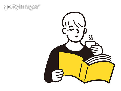 커피를 마시며 독서하는 사람 - gettyimageskorea