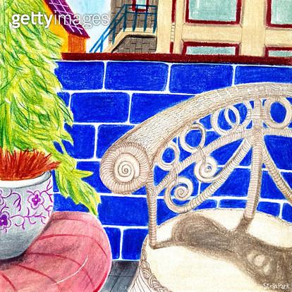 파란 벽, 의자와 벽돌 - gettyimageskorea