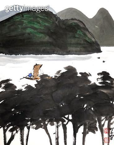 제목 : 풍경 (2004년)<br/>소재 : 한지 수묵 채색<br/>작품사이즈 : 33x42(㎝)<br/>작품 설명 : 초대작가 순수미술 그림 미술작품 미술이미지 한국화 수채화 문인화 풍경 산 강 나무 - gettyimageskorea