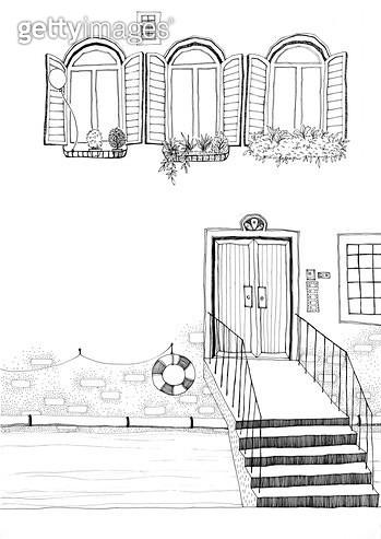 베니스 풍경의 집 펜드로잉 - gettyimageskorea
