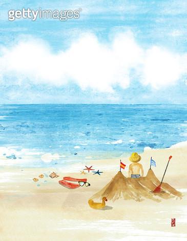 제목 : 여름 바다 (2012년)<br/>소재 : 물감, 먹, 화선지<br/>작품사이즈 : 21cmx27cm(㎝)<br/>작품 설명 : 여름,모래,먹그림,휴가 - gettyimageskorea