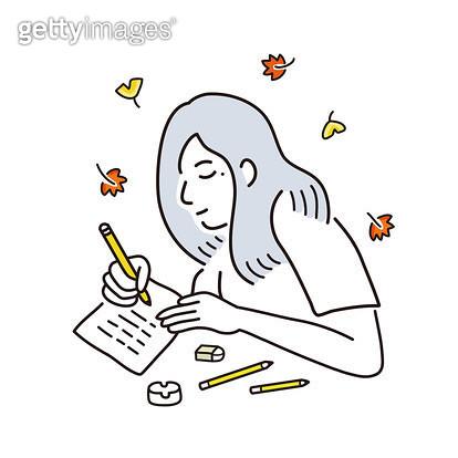단풍을 맞으며 글쓰는 사람 - gettyimageskorea