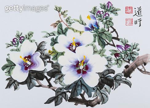 제목 : 무궁화 (2014년)<br/>소재 : 한지 채색<br/>작품사이즈 : 24x33(㎝)<br/>작품 설명 : 한국화 문인화 화조도 꽃 새 무궁화 여름 - gettyimageskorea