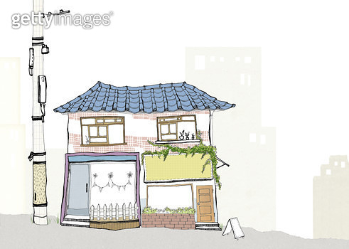 작은 상점이 있는 풍경 - gettyimageskorea