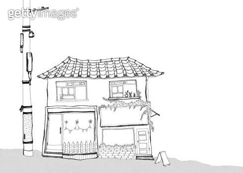 작은 상점이 있는 풍경 펜일러스트 - gettyimageskorea