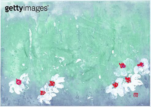 제목 : 바람18 (2010년)<br/>소재 : 한지 수묵 담채<br/>작품사이즈 : 35x25(㎝)<br/>작품 설명 : 한국화 수선화 바람  비행 꽃송이 추상화 이상 비전 움직임 - gettyimageskorea