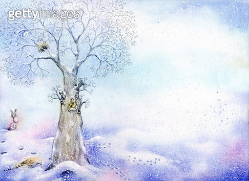 눈밭위에 서있는 나무 - gettyimageskorea