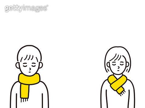 노란목도리를 매고 있는 사람 - gettyimageskorea