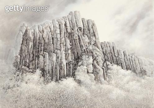 제목 : 무등산 (2014년)<br/>소재 : 한지 수묵담채<br/>작품사이즈 : 74x105(㎝)<br/>작품 설명 : 추천작가 한국화 한지 수묵담채화 풍경 산수화 무등산 산풍경 - gettyimageskorea