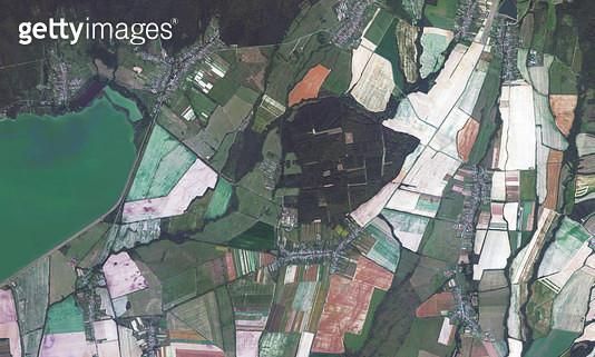 위성사진, 슬로바키아, 코시체 주, 농경지 - gettyimageskorea