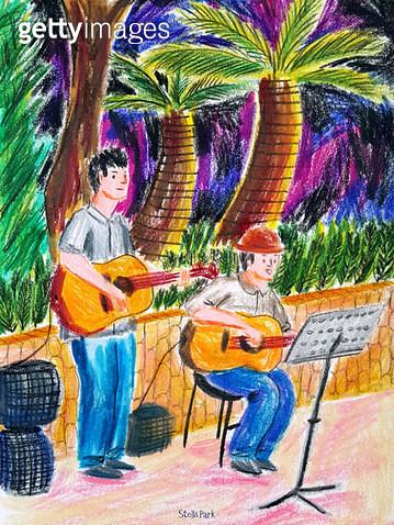 저녁의 버스킹, 거리 공연, 기타 연주 - gettyimageskorea
