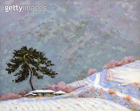 제목 : 외로운 소나무 (2013년)<br/>소재 : 캔버스 아크릴<br/>작품사이즈 : 41x32(㎝)<br/>작품설명 : 순수미술,그림,미술작품,미술이미지,그림이미지,유화,수채화,,소나무,산,길,설경,겨울풍경 - gettyimageskorea