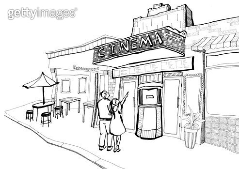 영화관 입구 앞에서 영화를 고르는 커플들 펜드로잉 - gettyimageskorea