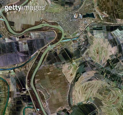 위성사진, 세르비아, 티서 강 - gettyimageskorea
