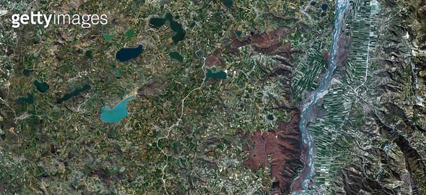 위성사진, 알바니아, 엘바산 주 - gettyimageskorea