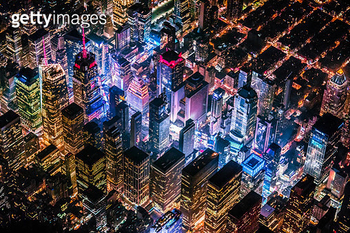 Time Square from helicopter at night - gettyimageskorea