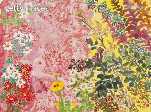 제목 : 축제 (2015년)<br/>소재 : 한지 먹 채색<br/>작품사이즈 : 46x36(㎝)<br/>작품 설명 : 원로중진 한국화 축제 꽃 야생화 자연 계절  - gettyimageskorea