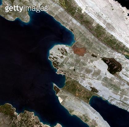 위성사진, 크로아티아, 파그 섬 - gettyimageskorea