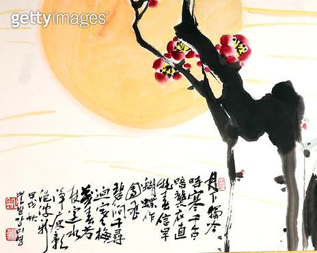 제목 : 매화 (1994년)<br/>소재 : 한지 수묵 채색<br/>작품사이즈 : 42x33(㎝)<br/>작품 설명 : 초대작가 순수미술 그림 미술작품 미술이미지 한국화 수채화 문인화 매화 사군자 해 - gettyimageskorea