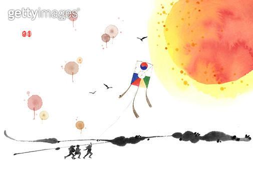 제목 : 새해 (2011년)<br/>소재 : 물감,먹,화선지<br/>작품사이즈 : 29cmx19cm(㎝)<br/>작품 설명 : 일출, 연날리기, 새해 - gettyimageskorea