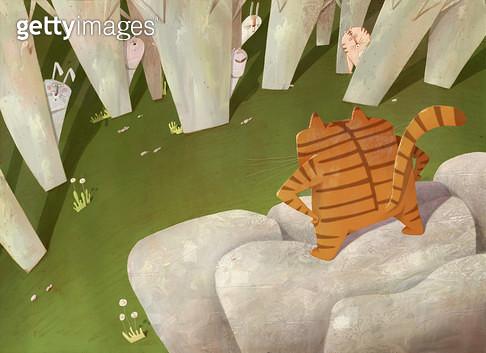제목 : 숲속 캐릭터 (2012년)<br/>소재 : 디지털 일러스트<br/>작품사이즈 : 38cm x 28cm(㎝)<br/>작품 설명 : 숲속,토끼,호랑이 - gettyimageskorea