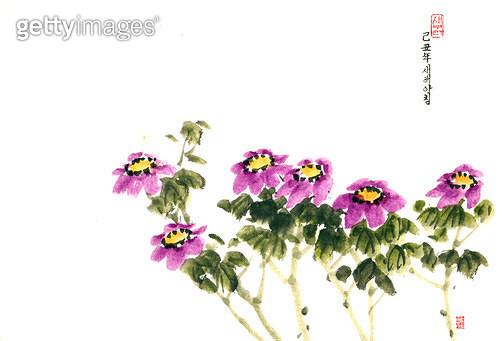 제목 : 새해아침-꽃 (2009년)<br/>소재 : 한지 수묵 채색<br/>작품사이즈 : 35x24(㎝)<br/>작품 설명 : 초대작가 순수미술 그림 미술작품 미술이미지 한국화 수채화 문인화 꽃 연하장  - gettyimageskorea