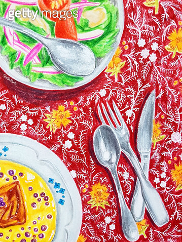 빨간색 테이블보와 음식 - gettyimageskorea