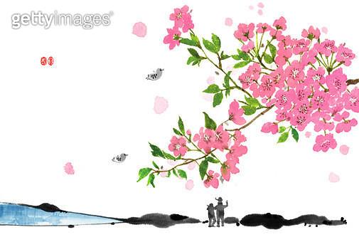 제목 : 봄나들이 (2011년)<br/>소재 : 물감,먹,화선지<br/>작품사이즈 : 29cmx19cm(㎝)<br/>작품 설명 : 봄나들이, 가족 봄나들이, 벚꽃, 새, 산책 - gettyimageskorea