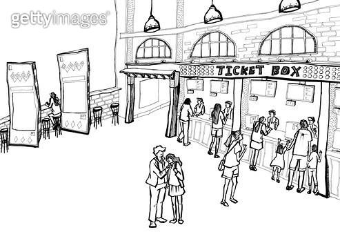 영화관 매표소 앞 사람들의 모습 펜드로잉 - gettyimageskorea